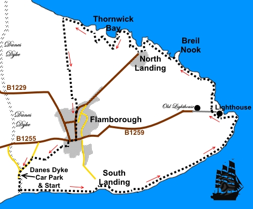 Flamborough Head Map Flamborough Head walk