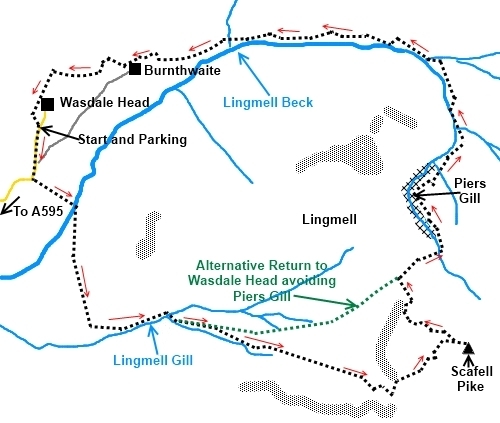 Scafell Pike Routes Map Scafell Pike from Wasdale Head